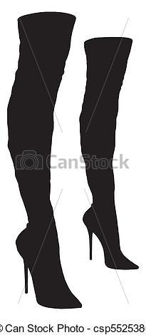 Clip Art Vector of Women's Long Boots Vector csp5525386.