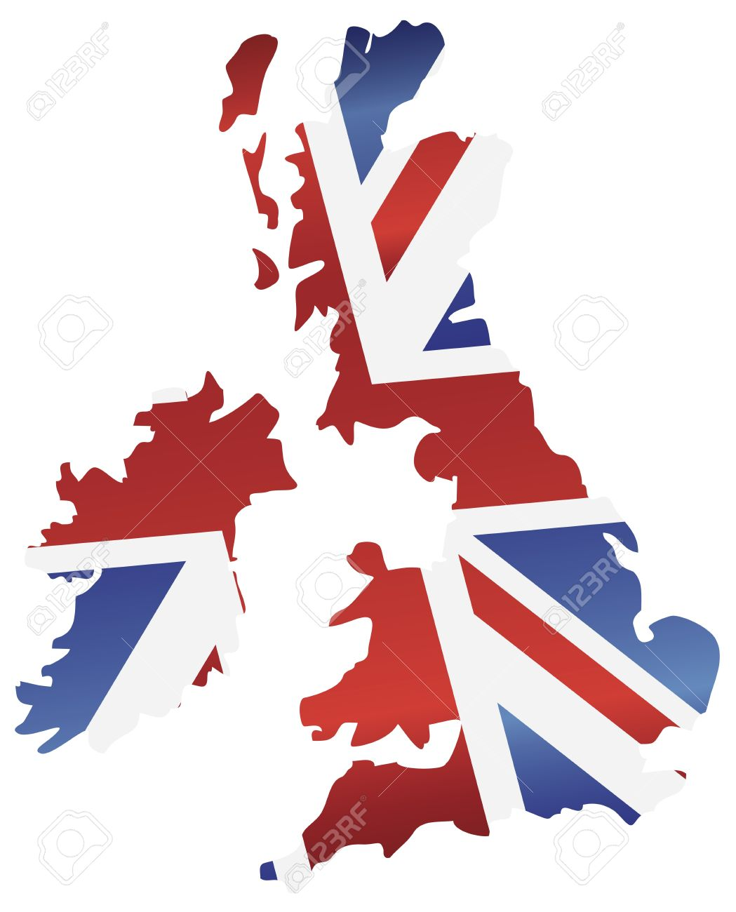 UK Great Britain Union Jack Flag In Map Silhouette Illustration.