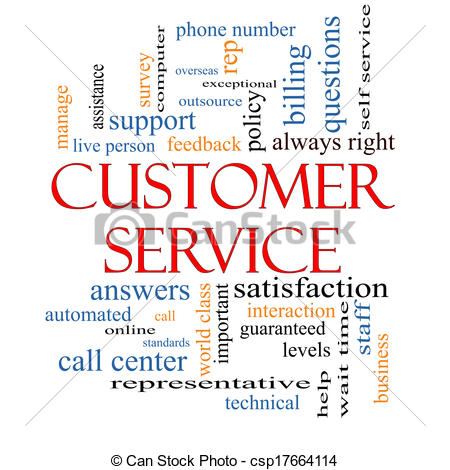 Clipart of Customer Service Word Cloud Concept with great terms.