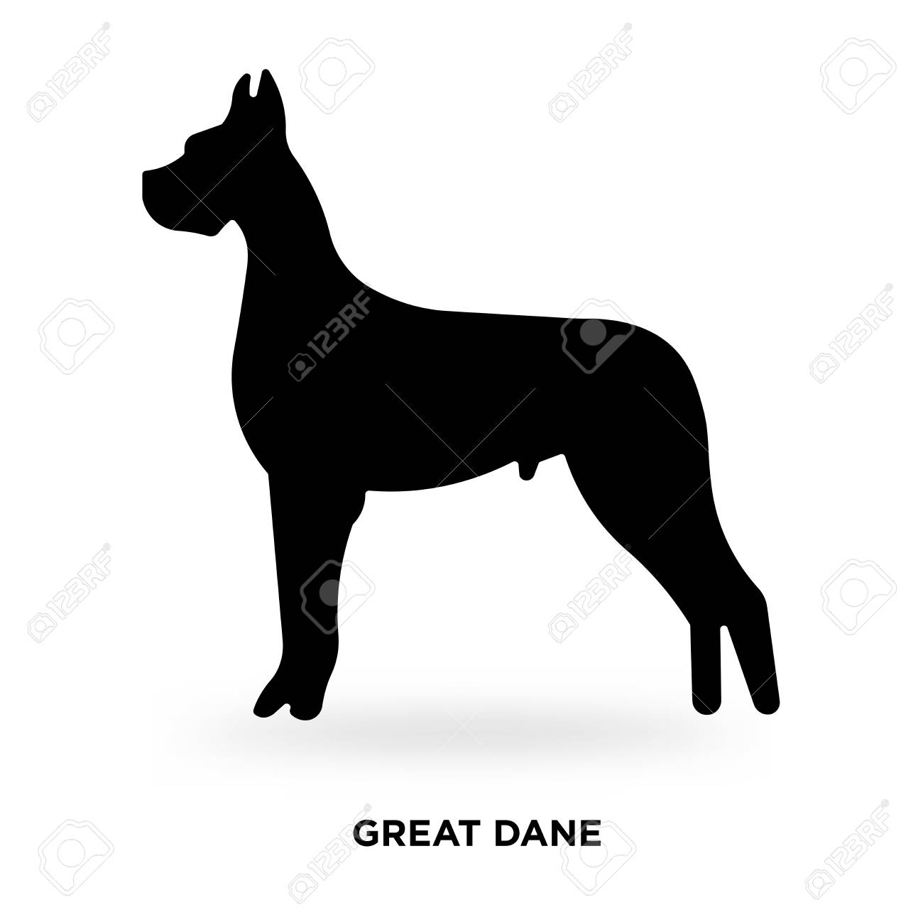 great dane silhouette Vector illustration..