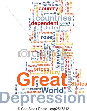Clip Art of Great Depression word cloud.