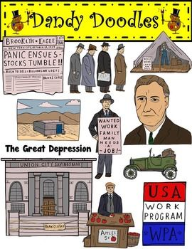 The Great Depression Clip Art by Dandy Doodles.