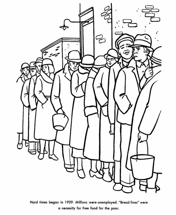 The Great Depression Coloring Page.