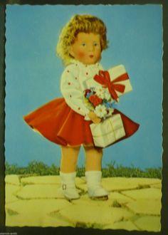 große alte Kinder AK, Mädchen mit Puppe 2.