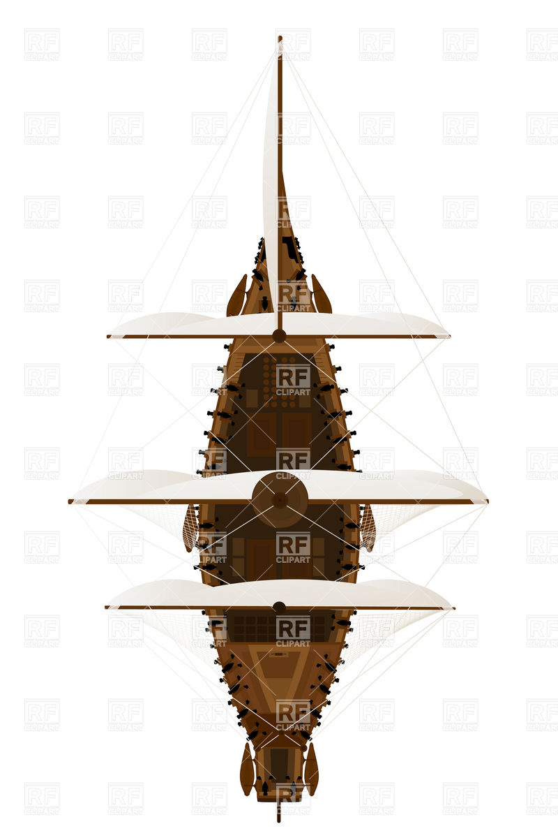 Battle frigate with cannons Vector Image #16352.
