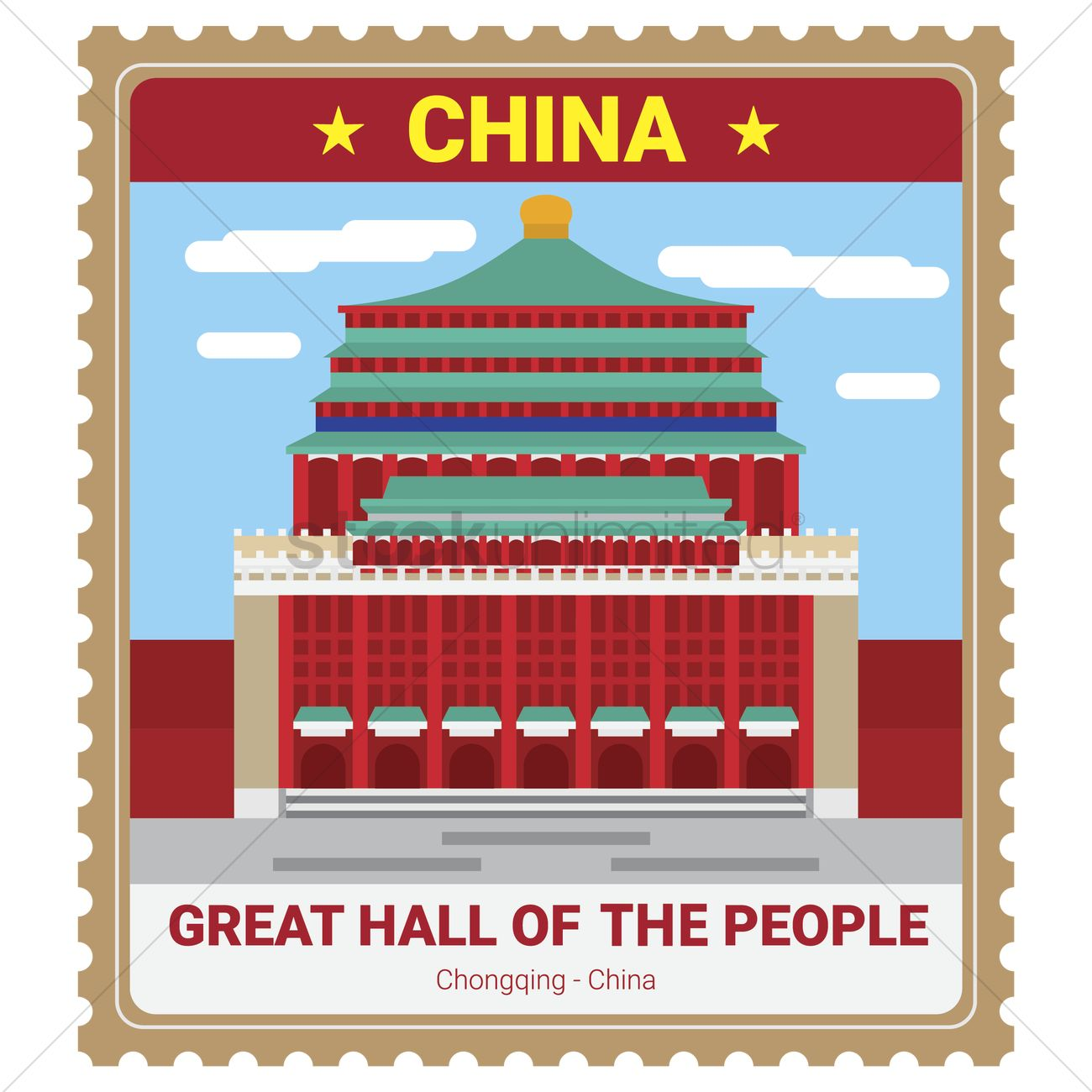Great hall of the people Vector Image.