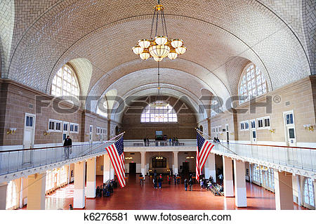 Stock Photography of New York City Ellis Island Great Hall.