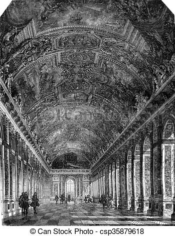 Clipart of Seventeenth century, The great Hall of Mirrors at the.