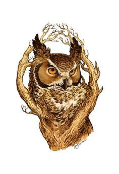 Great Horned Owl Clipart sketch 2.
