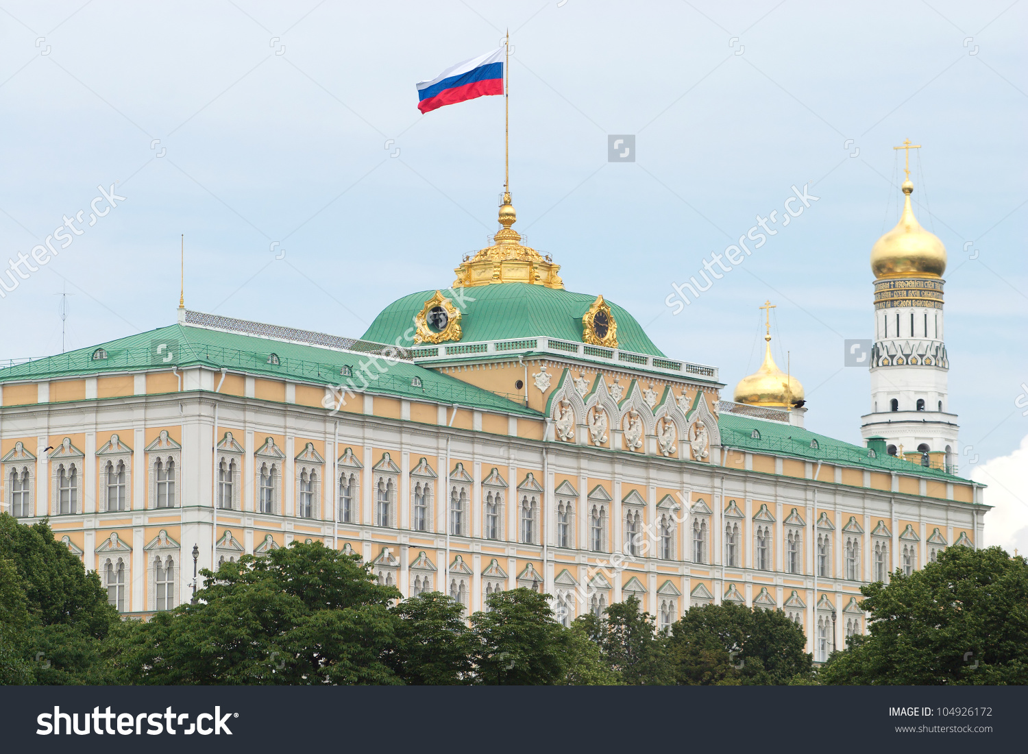 Big Kremlin Palace And Bell Tower Of Ivan The Great Stock Photo.