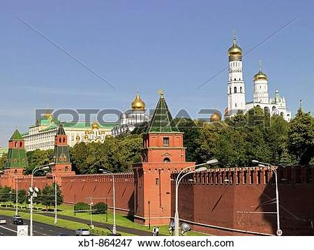 Picture of Kremlin with Kremlin wall and Great Kremlin Palace.