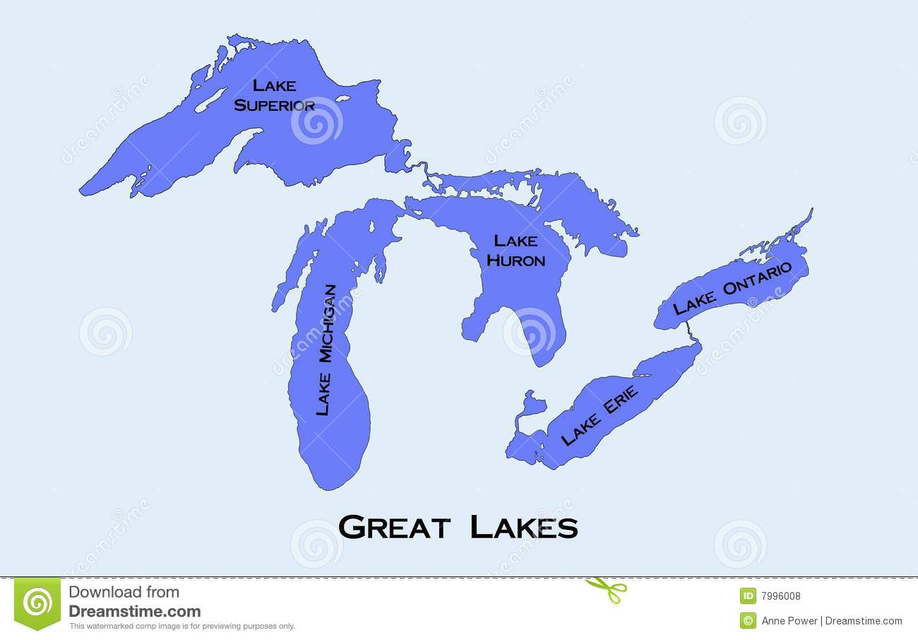 Map Of The Great Lakes Royalty Free Stock Photos.