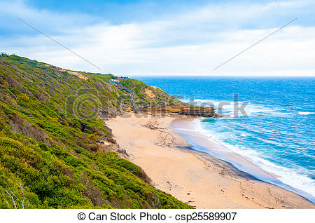 Stock Photography of Bells beach on Great Ocean Road.