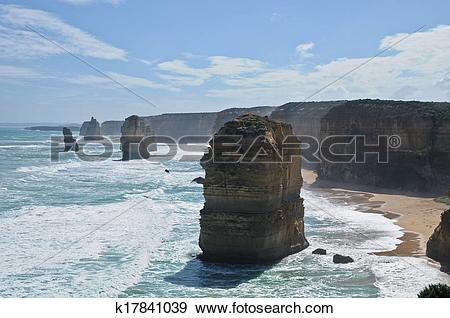 Stock Photograph of 12 apostles near Great Ocean Road in Victoria.