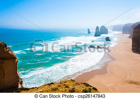Stock Photo of The Twelve Apostles by the Great Ocean Road in.
