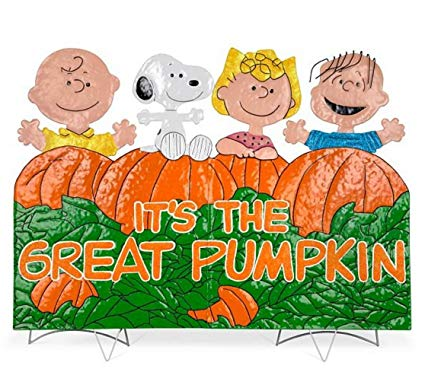 It's the Great Pumpkin Charlie Brown Metal Outdoor Halloween Decoration.