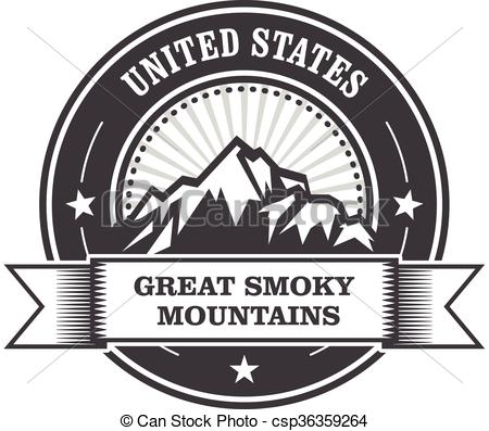 Clip Art Vector of Great Smoky Mountains stamp.