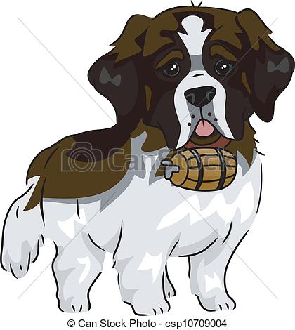 Vector Clipart of St. Bernard.