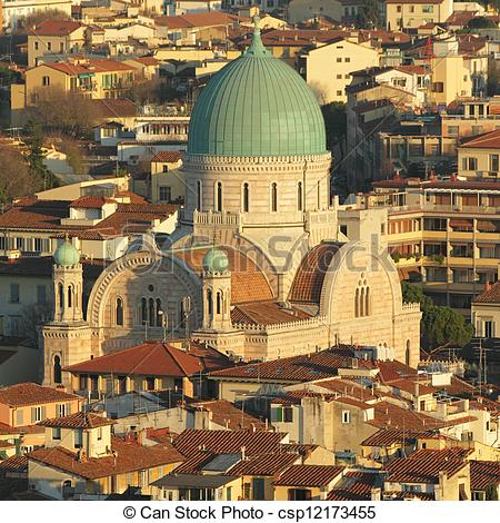 Stock Images of Great Synagogue of Florence seen from above.