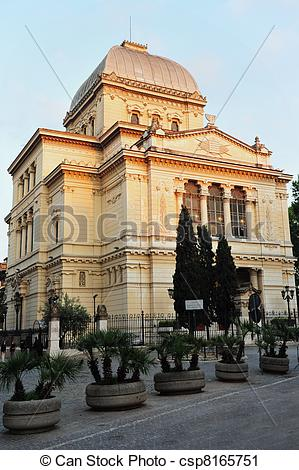 Stock Photography of Jewish Synagogue in Rome, Italy.