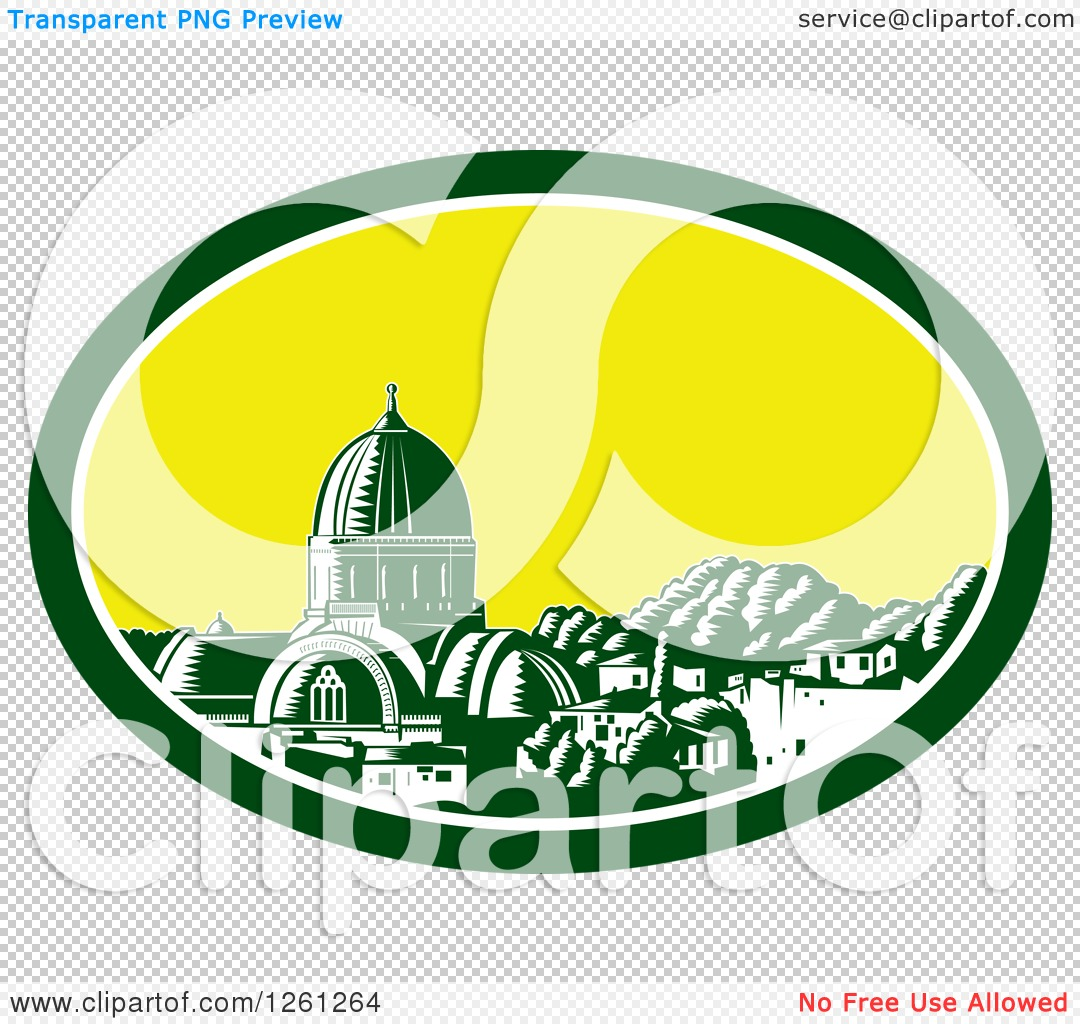 Clipart of a Retro Woodcut Scene of the Great Synagogue of.