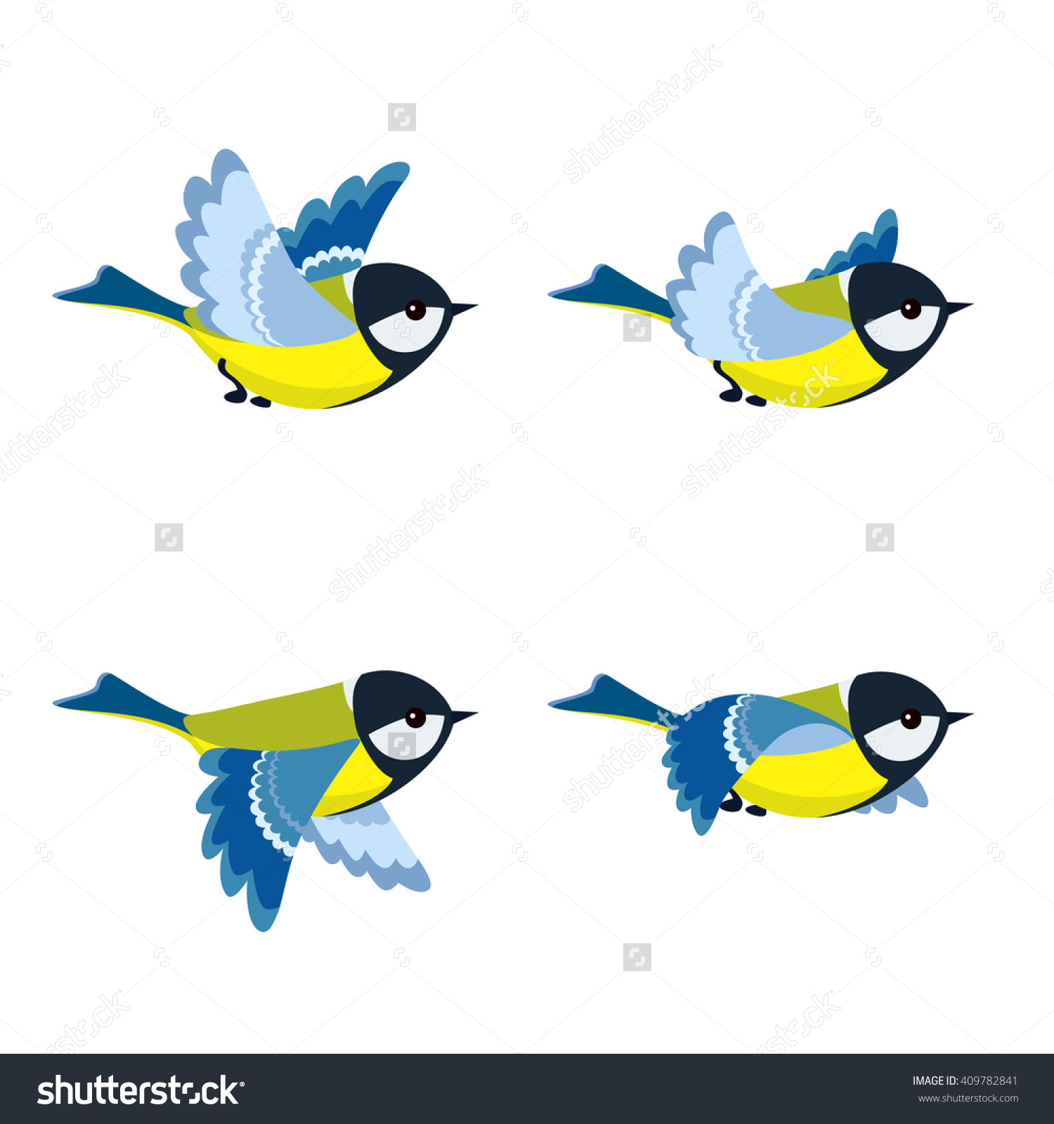 Vector Illustration Cartoon Flying Great Tit Stock Vector.