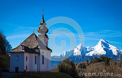 Maria Gern Church In Bavaria With Watzmann, Berchtesgaden, Germa.