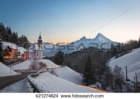 Stock Photo of Maria Gern Church in Bavaria with Watzmann.
