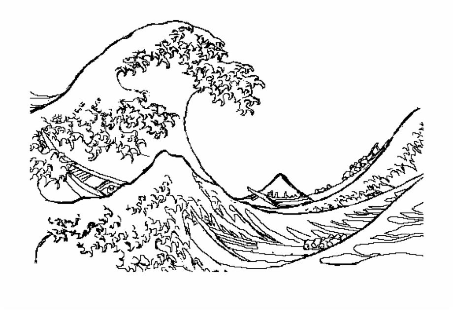 Sea Waves Png Great Wave Line Drawing.