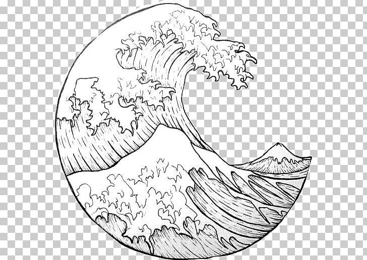 The Great Wave Off Kanagawa Japan Wind Wave Drawing PNG.
