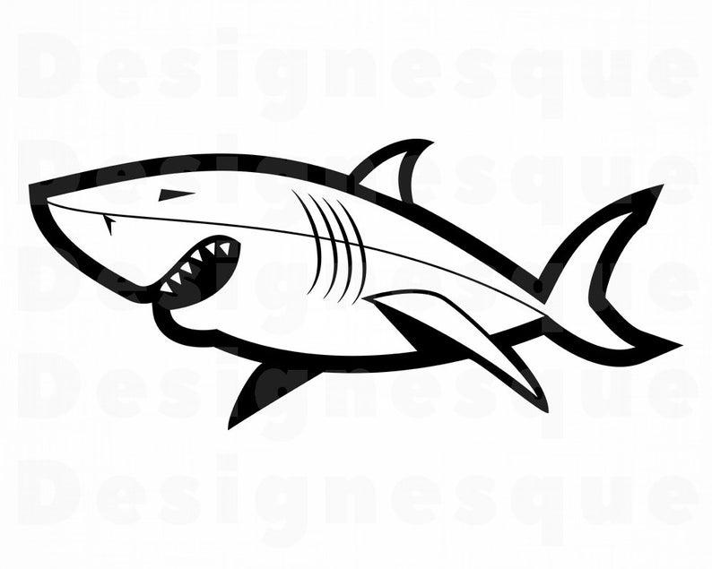 Shark SVG, Great White Shark Svg, Shark Clipart, Shark Files for Cricut,  Shark Cut Files For Silhouette, Shark Dxf, Png, Eps, Shark Vector.
