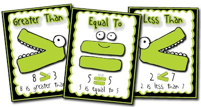 Poster FREEBIE!! Greater than, less than, or equal to colorful.