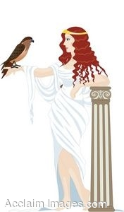 Clipart Illustration of a Greek Woman Holding a Hawk.