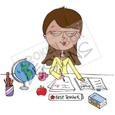 Teacher grading clipart.