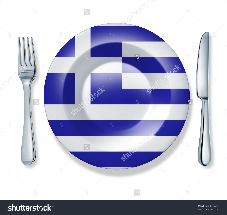 Greek Food Fork Plate Knife Isolated Stock Illustration 62740957.