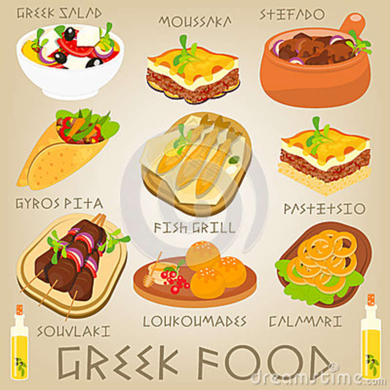Greek Food Set Stock Vector.