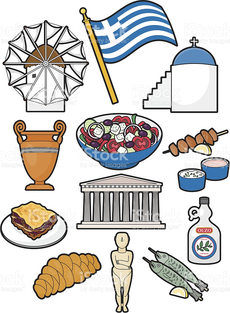 Greek Food And Culture stock vector art 165595827.