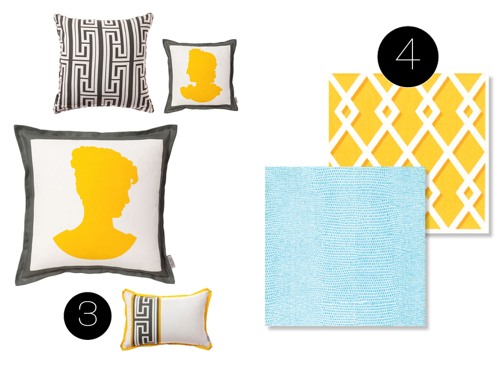 Set a Greek Islands Party Scene: Go Happy with Yellow and Bright.