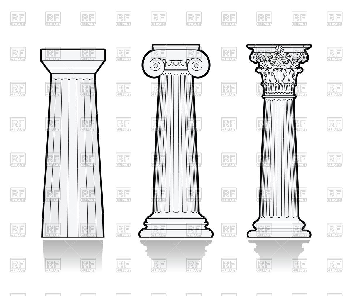 Stylized Greek columns Stock Vector Image.