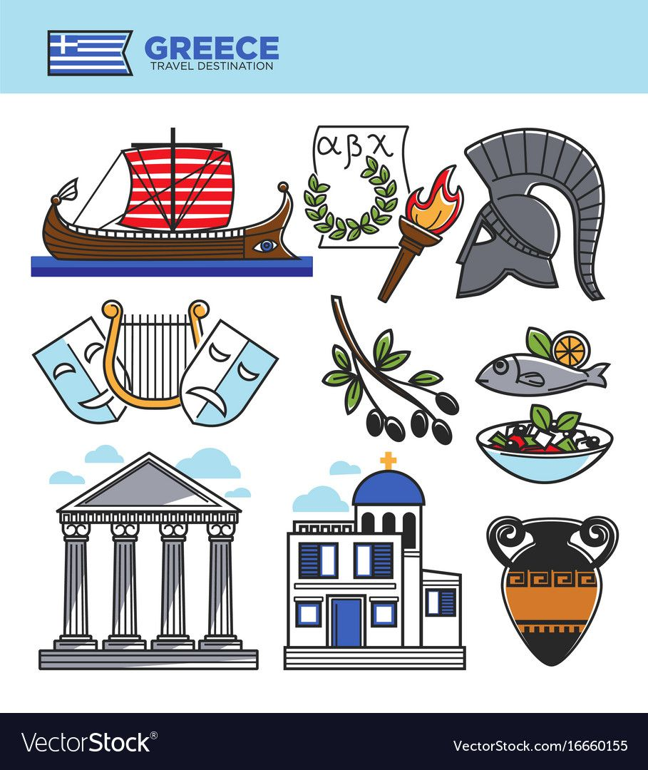 Greece travel tourism landmark symbols and greek Vector.