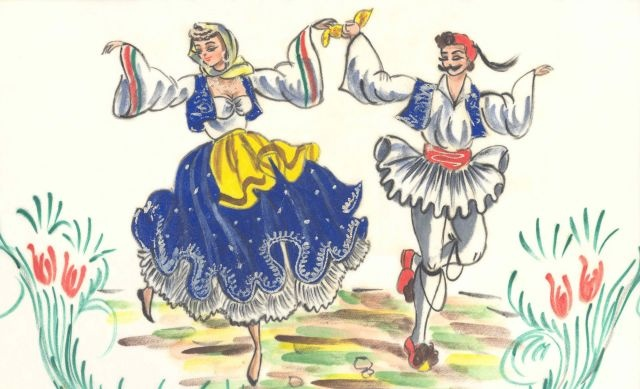 Greek Dancers Clipart.