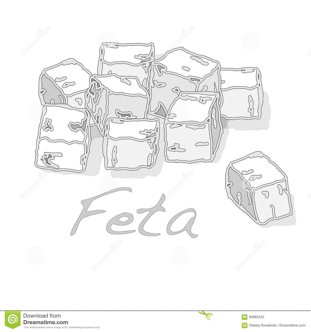 Greek Feta Cheese Block Isolated Stock Vector.