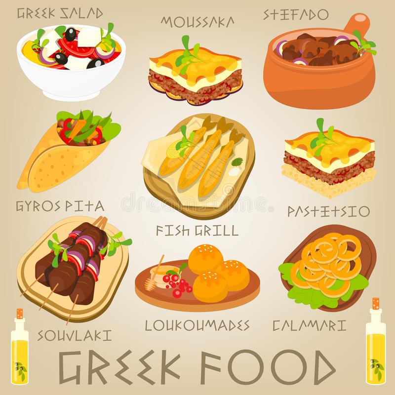 Greek Food Stock Illustrations.