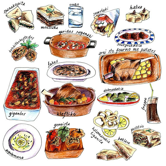 Handdrawn Greek Food Clipart With Names, Digital Download.