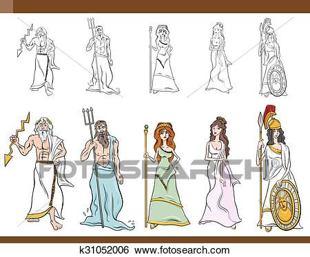 Greek gods cartoon illustration Clip Art.