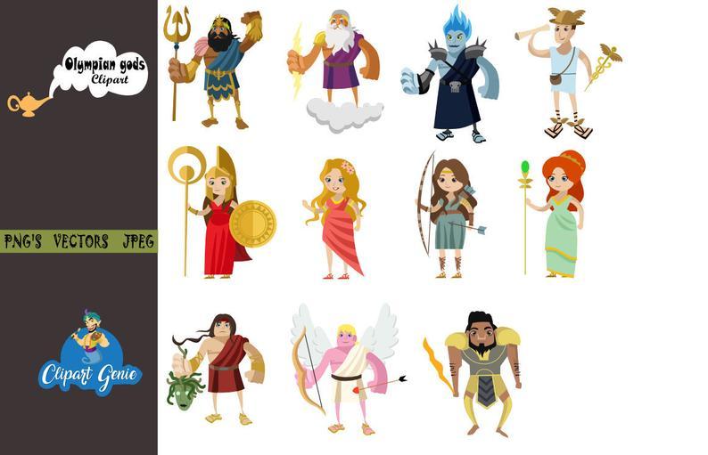 Greek mythology, greek gods clipart, greek goddess, mythology clipart, zeus  clipart, hera clipart, mount olympus, fantasy clipart.