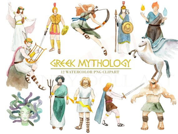 Greek Mythology Clipart Watercolor Digital Download Greece Vector God  Goddess Ancient Trident Medusa Zeus Travel Invite Paint Original.