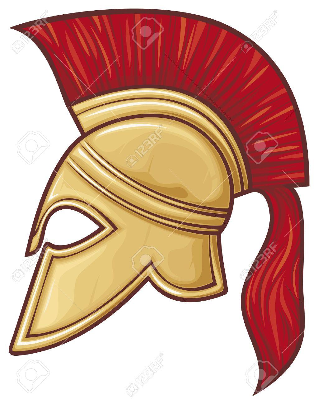 spartan helmet (illustration of an ancient greek warrior helmet,...