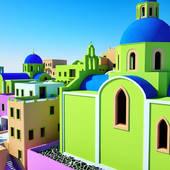Clip Art of Greek Island Village k10212007.