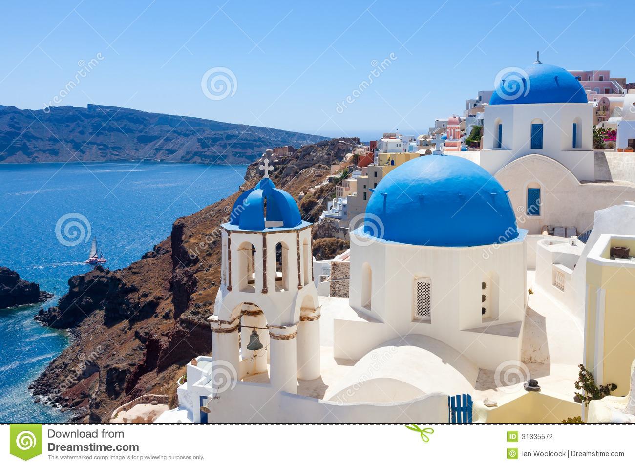 Santorini Greek Island Blue Dome Churches Stock Image.